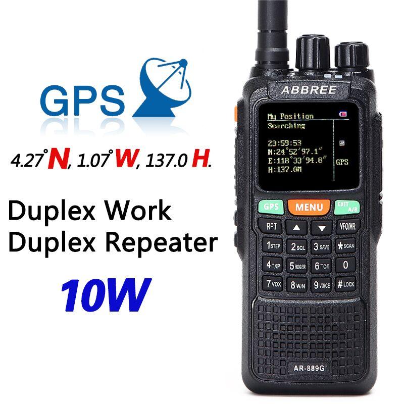 ABBREE AR-889G GPS 10 Watt Walkie Talkie SOS 999CH Notte Retroilluminazione Duplex Ripetitore Dual Band Dual Ricezione Caccia CB Ham radio