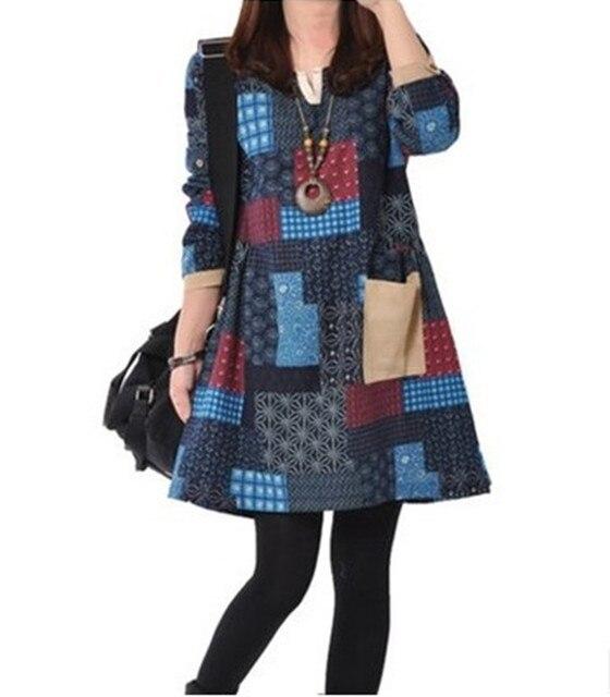 Remiendo de La Vendimia Vestidos Para Las Mujeres Nuevo 2016 Ropa de Moda de Invierno Vestidos Femininos Otoño Vestido Ocasional Más El Tamaño