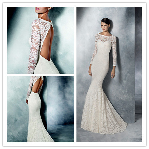 Hot Sell Sheath Floor Length Backless Illusion Sweetheart Neckline Sweep Train Lace Long Sleeve Wedding Dresses