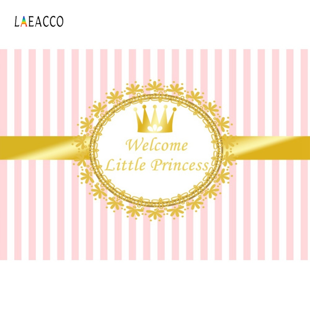 Pink Stripes Gold Crown Welcome Little Princess Birthday Party Baby Shower Photo Backdrops Photography Background Photo Studio