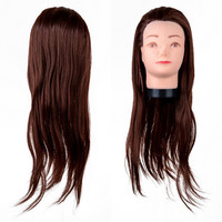 1pc Brown 22 Inch Hair Stylish Salon Mannequin Professional Hairdressing Training Model Head Practice Tool