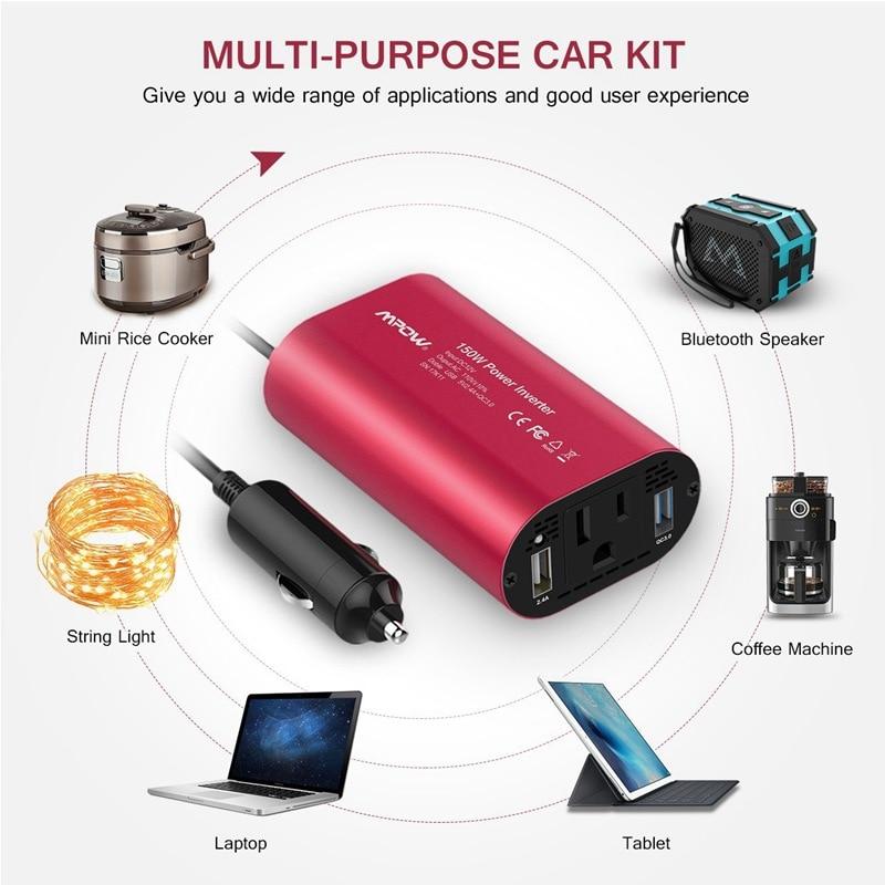 VicTsing Car Power Inverter DC 12V to 110V AC Converter QC 3.0 Portable Car Adapter 150W Power Inverter Adapter with Dual USB    (7)