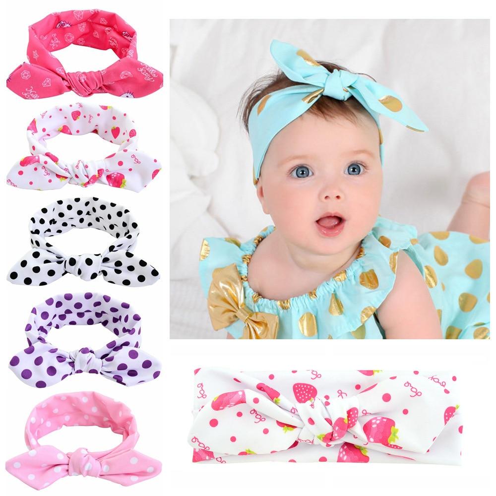 1Piece Baby Girls Dot Bowknot Print Floral Headbands Newborn Infant Hair Accessories Children Rabbit Ears Elastic Hair Bands childrendlor baby brocade floral print