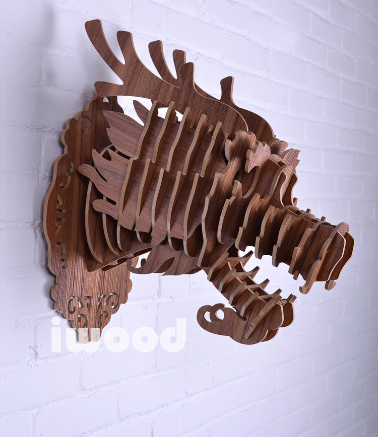 Wooden dragon head for totem decoration home decor