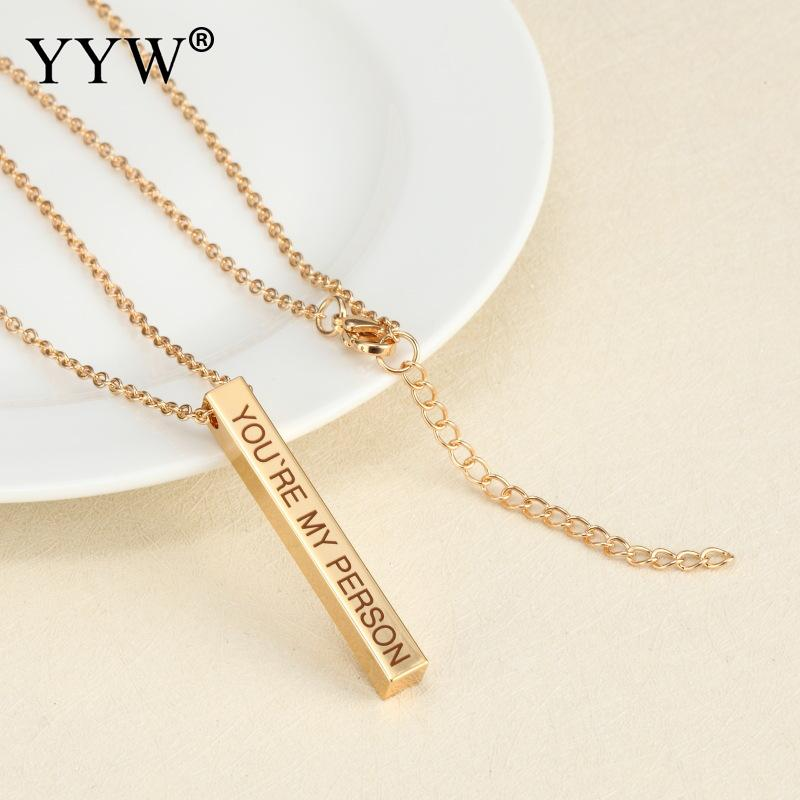 YYW Stainless Steel Metallic Personalized Square Bar Pendant Necklace Women Men Gift Unique