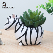 Roogo Cute Animal Flower Pot For Succulents Resin Home Garden Decor Flowerpot Creative Planter Pot For Desktop Decoration