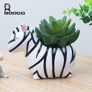 Image 1 - Roogo Cute Animal Flower Pot For Succulents Resin Home Garden Decor Flowerpot Creative Planter Pot For Desktop Decoration