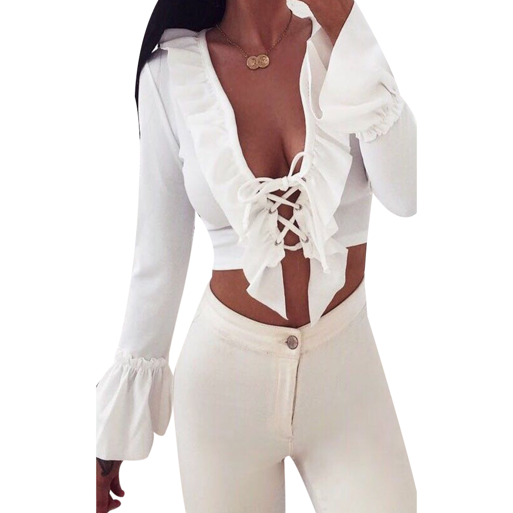 2018 sexy Autumn Fashion Deep V-neck Cross T-Shirts Female Long-sleeved Hollow Sexy Bandage Solid Color T-shirt Hot