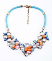 Summer Pop Gentlewomen Many Flowers Bib Blue Rope Chain Necklace