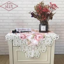 2019 Jacquard Fabric Tablecloth Pink Bedside Desk Table Dustproof Cover Garden Floral Towel Cloth Home Decor Textile