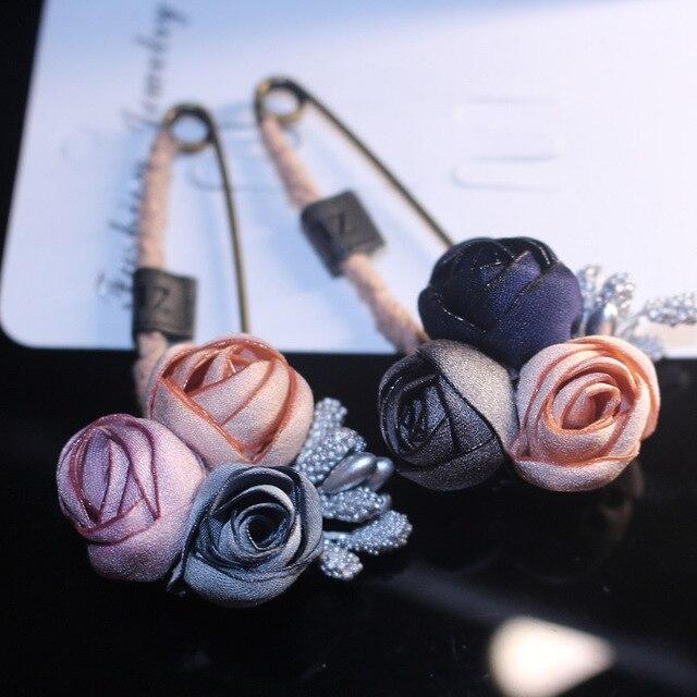 I-Remiel Ткань Цветы значки-наклейки украшения брошь пальто Большой жемчуг аксессуар шпильки для женщин ленты ткань книги по искусству ручной работы