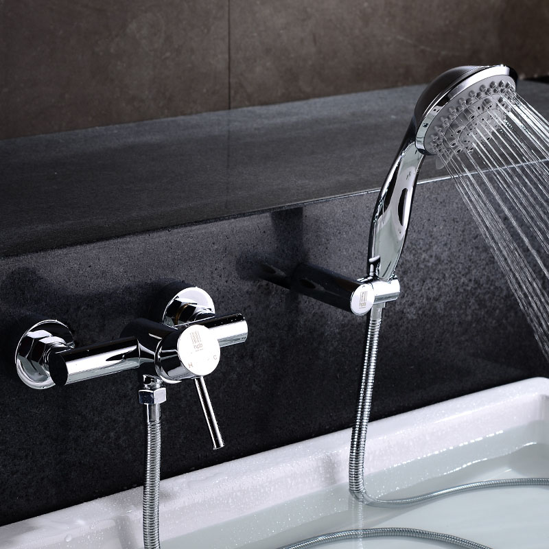 HPB Chrome Brass Bathroom Wall Mounted Shower Faucet Bath Bathtub Mixer Tap Handheld Shower Head Cold Hot Water taps HP5401 free shipping polished chrome finish new wall mounted waterfall bathroom bathtub handheld shower tap mixer faucet yt 5330
