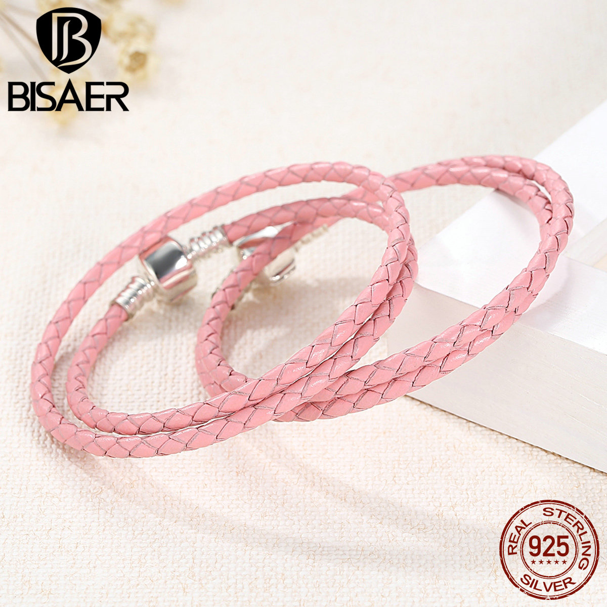 genuine 925 sterling silver pink braided leather bracelet