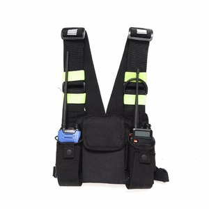 Image 4 - Abbree Bright Green Radio Chest Harness Chest Front Pack Pouch Holster Vest Rig Carry Case for Two Way Radio Walkie Talkie
