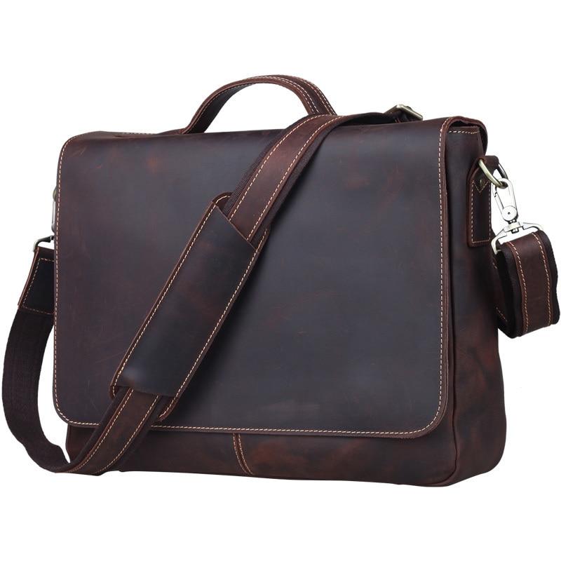 Men Briefcase Fit For 13 Inch Laptop Genuine Leather Male Vintage Cowhide Man Tote Business Handbag Shoulder Bag PR581062