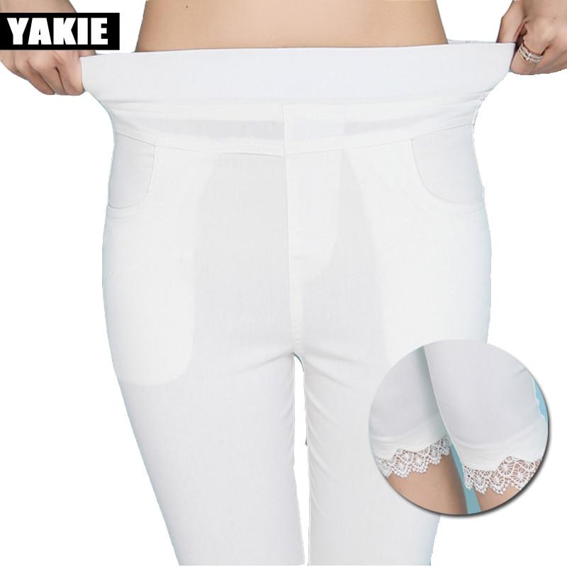 Plus size 5xl 6xl   pants     capris   women 2017 summer high elastic waist skinny stretch OL office lace pencil   pants   female trousers