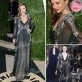 2013 Miranda Kerr Red Carpet Dress Sexy Deep V-neck A-line With Applique Floor length Tulle Celebrity Dresses