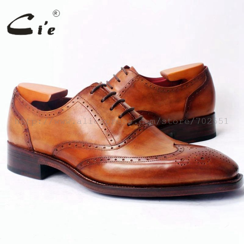 cie Square Toe Fuld Brogues Wingtip Oxfords Brown 100% Ægte Calf Læder Goodyear Welted Skræddersyede Custom Handmade Men ShoeOX358