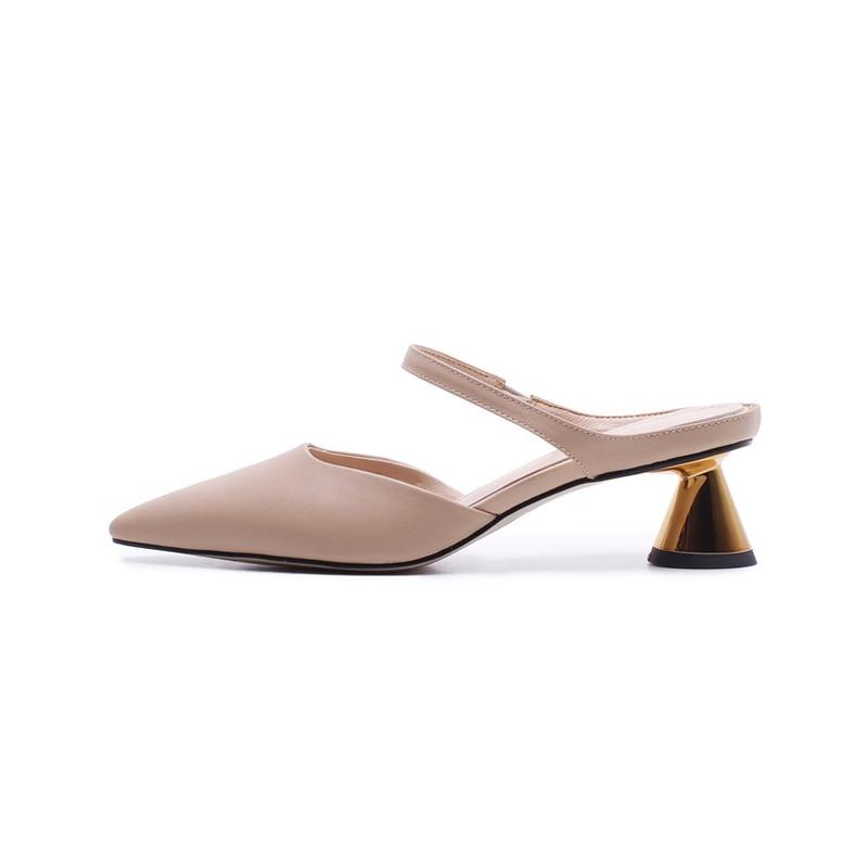 SARAIRIS nya kvinnors äkta läder konstigt stil med klackar pekade - Damskor - Foto 2
