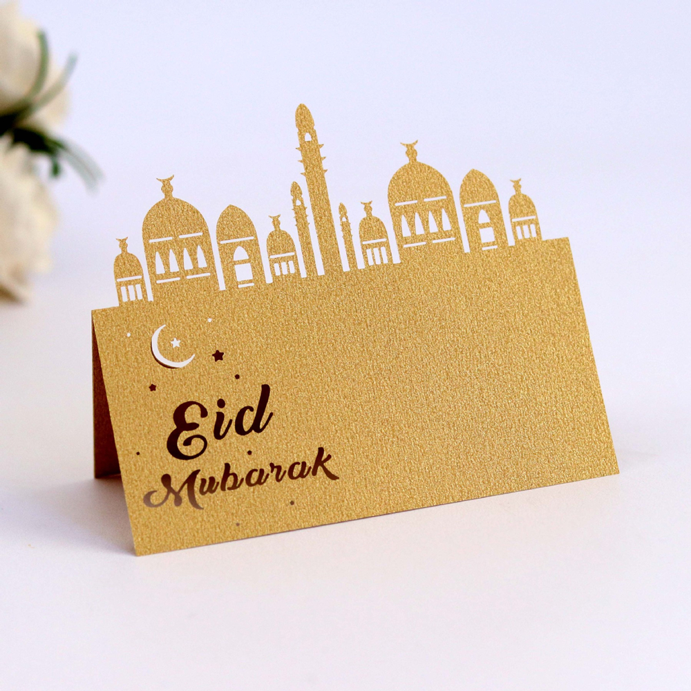 10pcs Eid Mubarak Party Seat Card Laser Hollow Festival Card Gold Bronze Place Cards Happy Eid Ramadan Kareem Muslim Party Decor