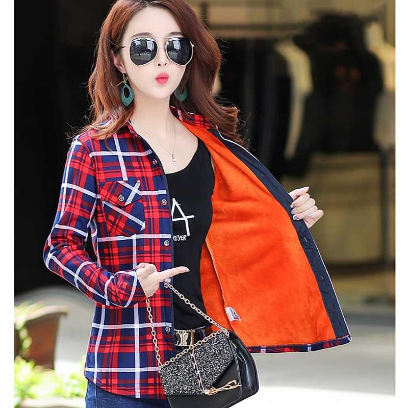 4XL kadife sıcak kadınlar ekose gömlek kadın uzun kollu üstleri artı boyutu kış cepler bluz Blusas Femininas Chemise femme