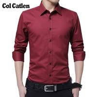 Merk Kleding Mode Shirts Lange Mouwen Effen Wit Casual mannen Werk Shirts Slim Fit Blouse Sociale Masculina Camisa M-5XL