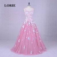 LORIE Floral Wedding Dress Real Photo Scoop Applique with Flowers Pink Formal Dress Custom Made Party Dress for Graduation