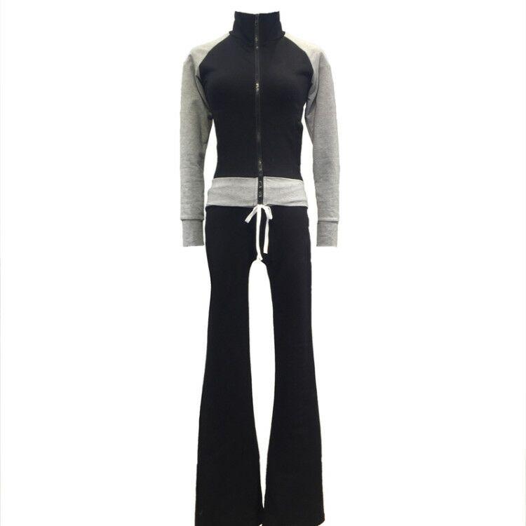 2017 en najaar damesmode kleur blok jas en flare broek twee pakken set-in Sets voor dames van Dames Kleding op  Groep 3