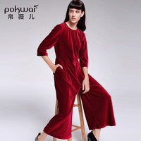 POKWAI 2017 Autumn New Vintage Velour Jumpsuits O Neck Ankle Length Pants Loose Britches Rompers