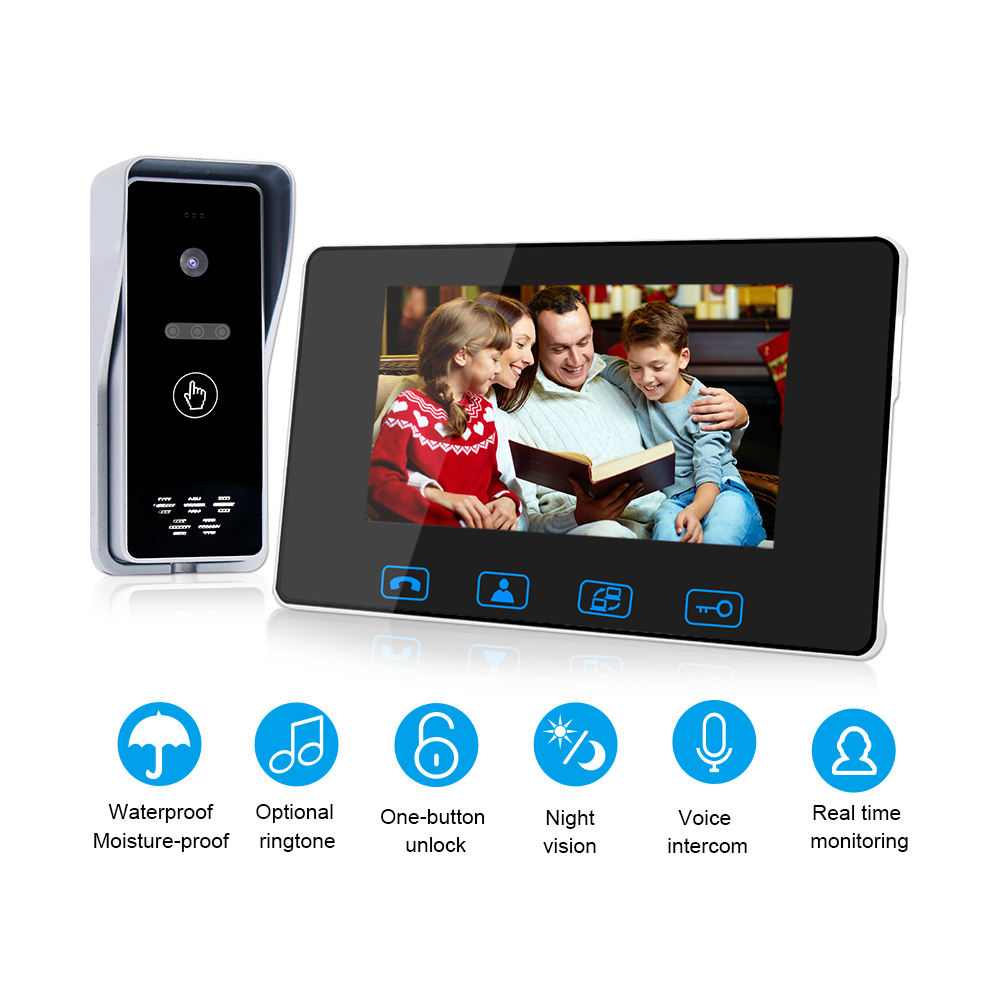 """Wired Video Door Phone 7""""Color LCD With Waterproof Digital Doorbell Camera Viewer IR  Night Vision Intercom System-in Video Intercom from Security & Protection"""