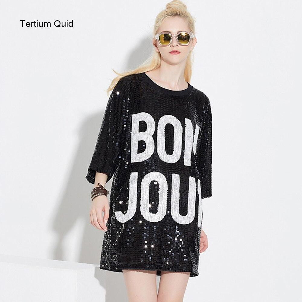 ff87b0acb30 Autumn Korean Dress Bling Bling Rockabilly Pinup Plus Size T Shirt Dress  Women Casual Wear Rock Punk Long Loose Sequined Tops-in Dresses from Women s  ...