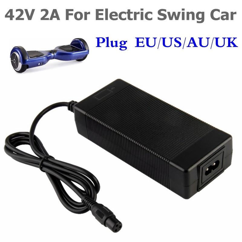 42 V 2A cargador de batería Universal para Hoverboard Smart Balance rueda 36 V energía eléctrica scooter cargador adaptador UE/ ee.uu./AU/UK Plug