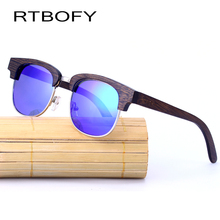 RTBOFY Wood Sunglasses Men Vintage Half Frame Bamboo Men Sunglasses Handmade Glasses masculino Sun Glasses