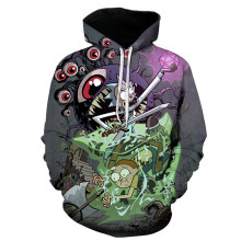Anime Funny Cartoon Rick and Morty 3D Print Hoodies Pockets Sweatshirt Hipster Casual Street Pullover