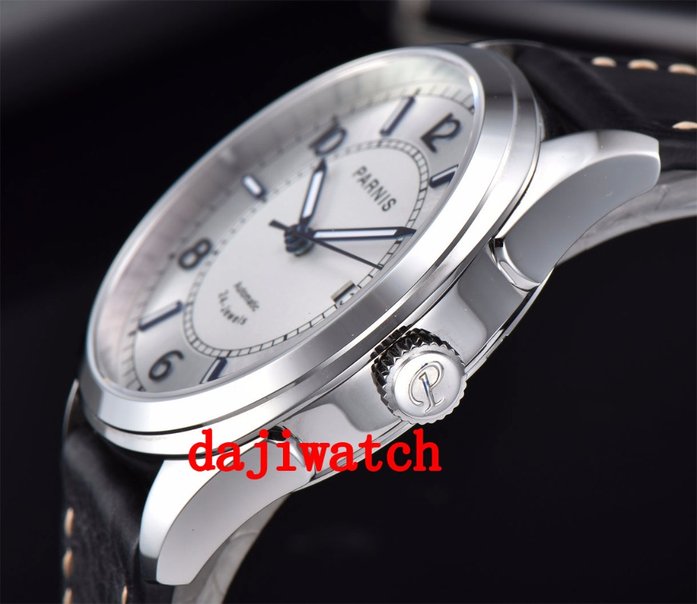 42mm Parnis Sapphire คริสตัลปฏิทินญี่ปุ่นอัตโนมัติ Mens นาฬิกา-ใน นาฬิกาข้อมือกลไก จาก นาฬิกาข้อมือ บน   3