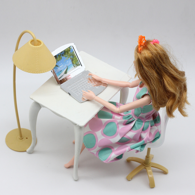 Free Shipping,doll play house doll furniture desk+lamp+laptop+chair accessories for Barbie Doll acc