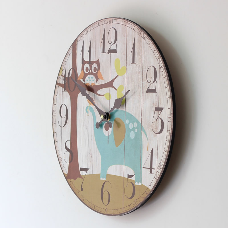 Coloured Drawing Elephant Owl Large Decorative Wall Clock Wood