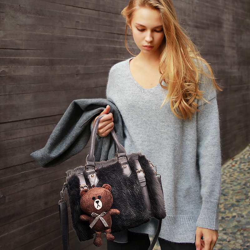 Fashion Winter Rabbit fur Crossbody Bag women Boston tote bags Bears Dolls brand messenger bags leather