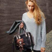 แฟชั่นฤดูหนาวขนกระต่ายC Rossbodyกระเป๋าผู้หญิงบอสตันถุงสิริตุ๊กตาหมีmessengerแบรนด์+คลัทช์หนังคอมโพสิตกระเป๋า