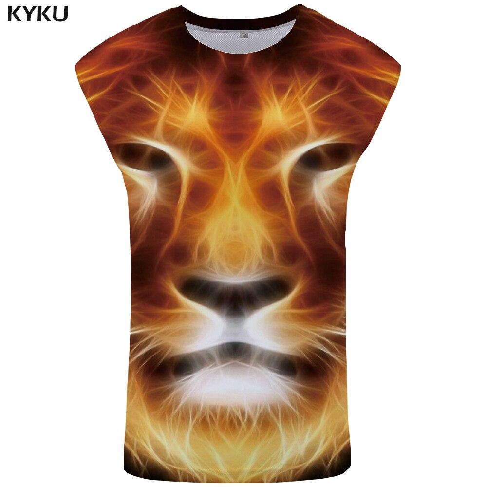 KYKU Brand Lion   Tank     Top   Men Flame Ftness Clothing 3D Singlet Rock Undershirt Mens Bodybuilding Stringer Sleeveless Shirt 2018