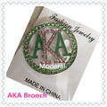 Hot round AKA crystal brooch pink and green color 40mm Alpha girls' sorority accessories enamel safety clasp,1pcs,OGB005-1