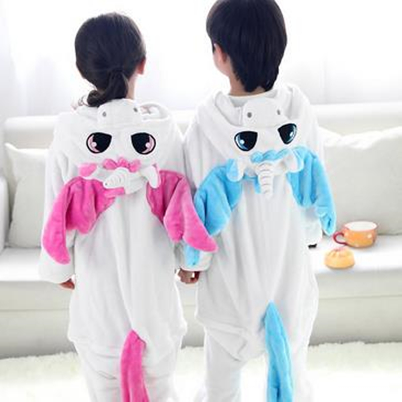 1 pc Flannel Unicorn animal Siamese pajamas suit children Home Furnishing coral thickening toilet version of baby  aTST0143
