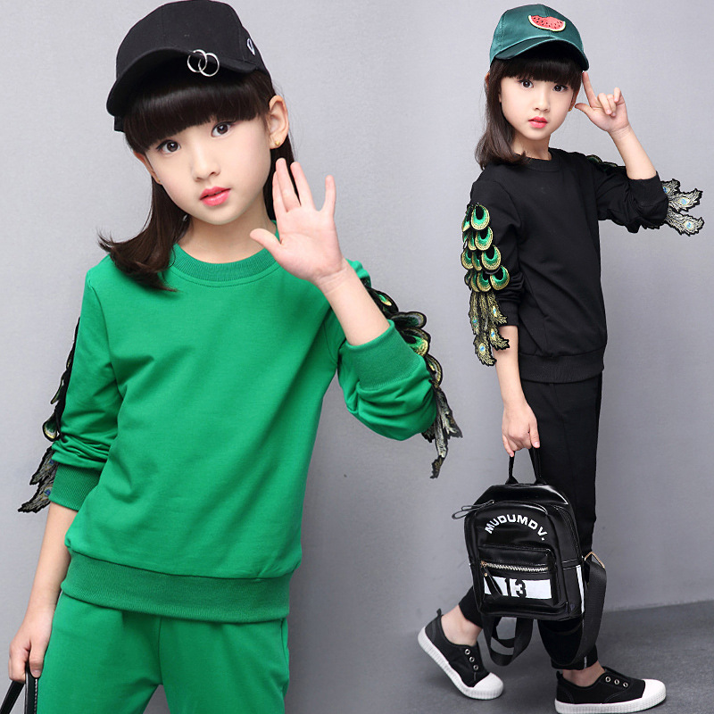 ФОТО 2 Pieces Girls Clothing Sets New Fashion Kids Clothes O-neck Girl Clothing Full Sleeve Set Spring Character Sports Children Sets