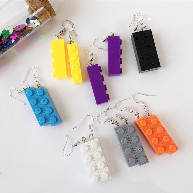 New Arrival Creative Candy Color Building Blocks Drop Earrings Colorful Lovely Geometric Toy Earrings Funny Party Girl Jewelry
