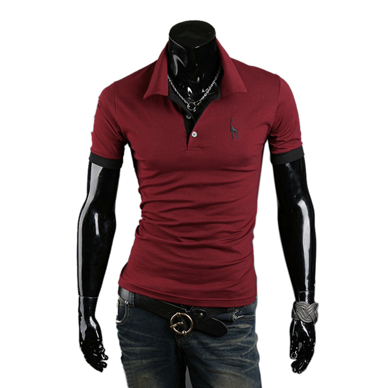 LASPERAL Brand   Polo   Shirt Men Fashion Solid Short Sleeve   Polo   Shirt Casual Deer Print Turn-down Collar Mens Clothing Plus Size
