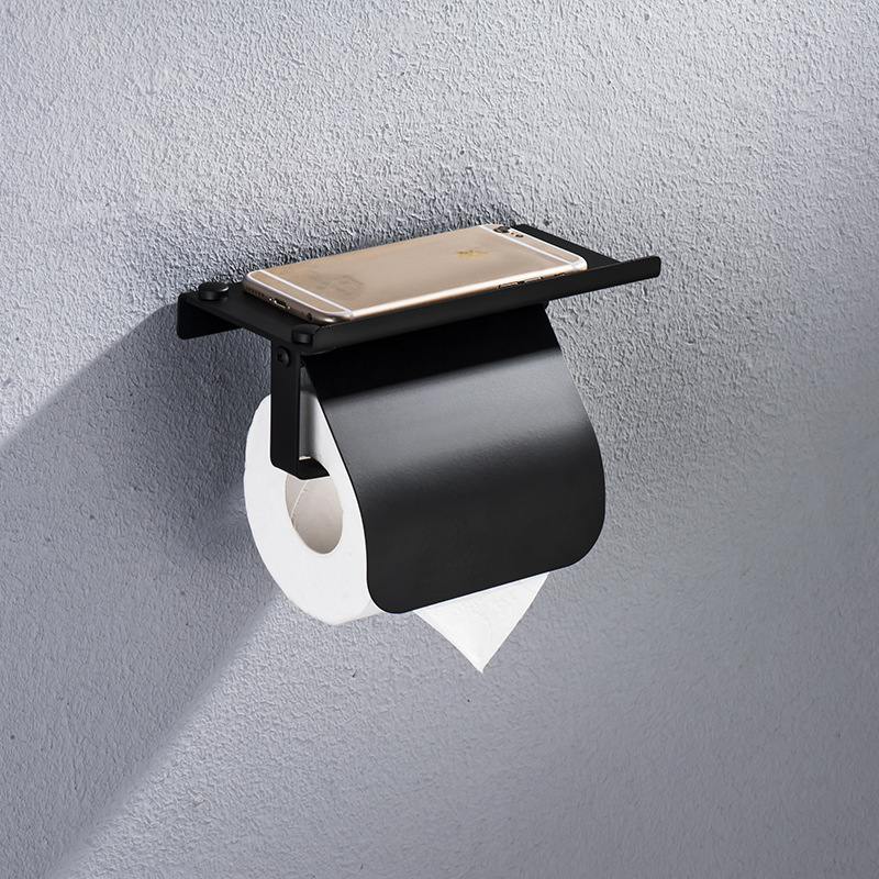 Concise Stainless Steel Roll Paper Holder Wall Mount Toilet Paper Holder With Phone Shelf Bathroom Fixture Bathroom Accessories