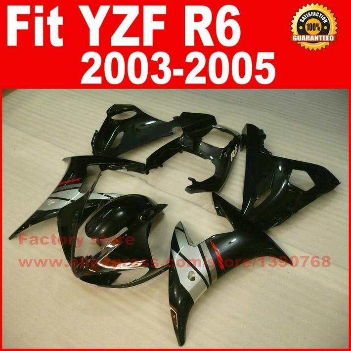 Glossy black Body kit for YAMAHA R6 fairings 2003 2004 2005 YZFR6 fairing kit 03 04 05 bodywork kits A9B7 yamaha 9 9 fmhs в красноярске