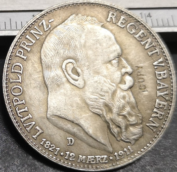 1911 Kingdom of Bavaria 3 Mark-Otto Silver Plated Copy Coin image