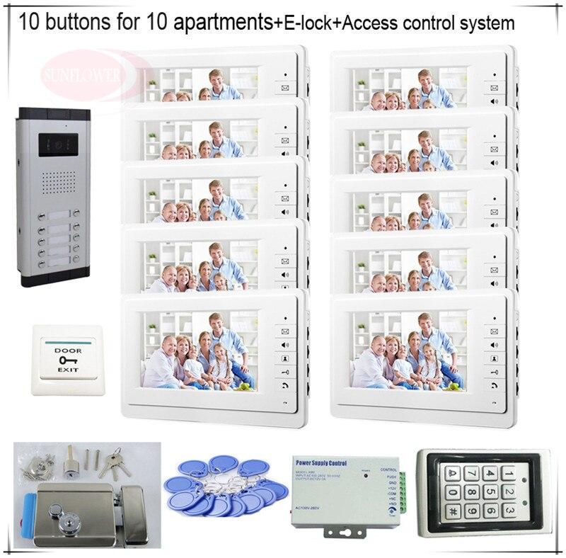 10 Пуговицы Цвет видеодомофонов Системы S 10 ЖК-дисплей безопасности Дверные звонки на 10 квартир + Система контроля доступа + E замок-
