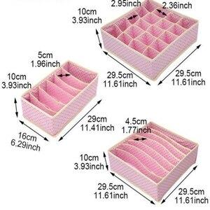 Image 2 - 3PCS Nonwoven Home Storage Box Underwear Organizer Boxs Bra Necktie Socks Folding Container Organizers Various Grid